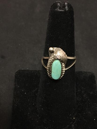 Old Pawn Native American Blue Robins Egg Turquoise Sterling Silver Ring Sz 6