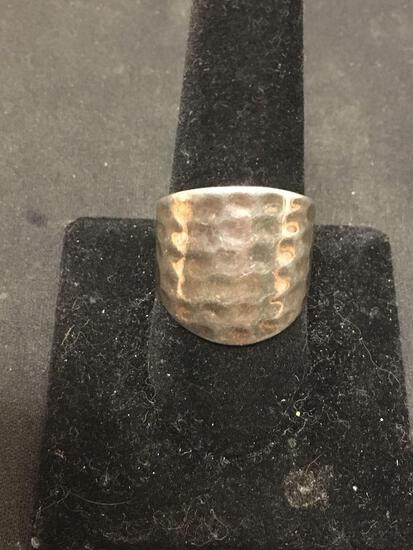 SETA Hammered Sterling Silver Statement Ring Size 10