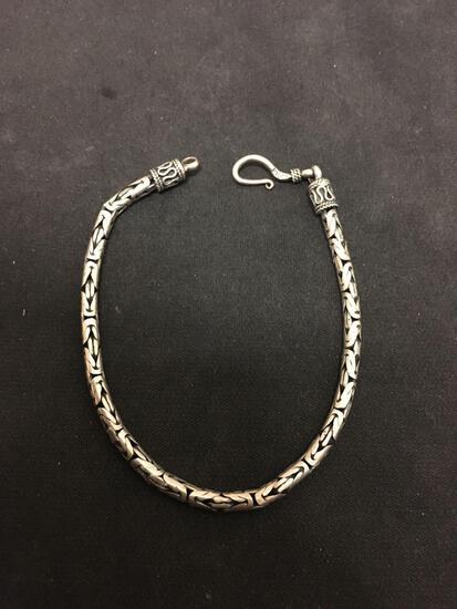 "Amazing Heavy Sterling Silver Byzantine 7.5"" Chain Bracelet - 12 Grams"