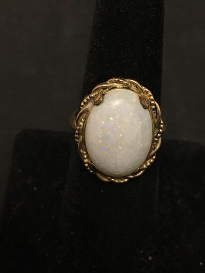 Large White Opal 1/20th 10K Gold Filled Cocktail Ring Size 7