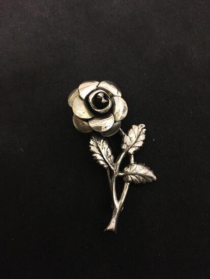 "LANG Sterling Silver Rose Brooch Pin - 2"""