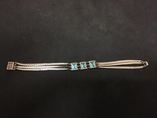 "Antique Blue Topaz & Multi Chain Sterling Silver 7.5"" Bracelet"