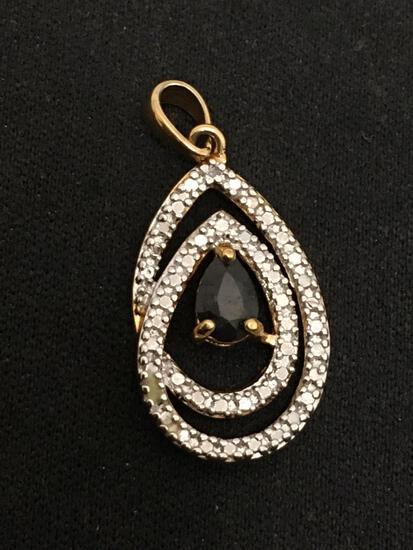 Sapphire & Diamond Teardrop Sterling Silver Pendant