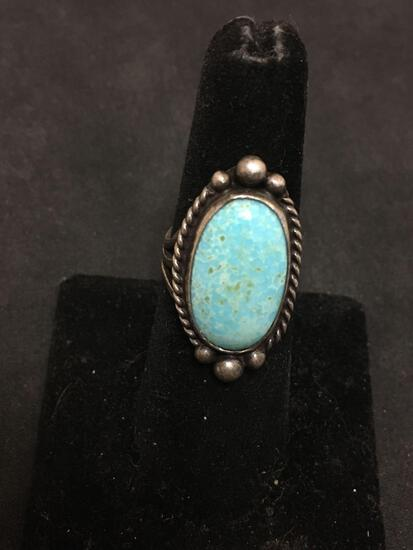OLD PAWN Native Sterling Silver & Robins Egg Turquoise Ring Size 6 - Chunky