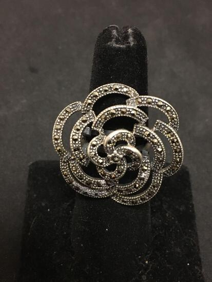 Marcasite Lined Large Flower Sterling Silver Statement Ring Size 6