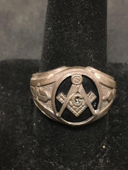 BASCH Sterling Silver Masonic Black Onyx Large Vintage Ring Size 11