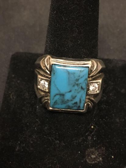 M-H Signed Sterling Silver Turquoise & Clear Gemstone Large Mens Ring Size 12