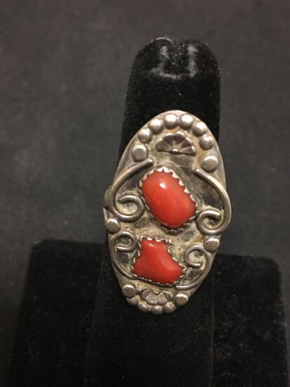 Signed Navajo Native American Sterling Silver & Red Coral Ring Size 5