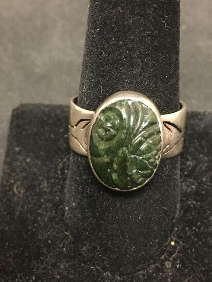 Old Pawn Carved Green Marble Vintage Sterling Silver Ring Size 10