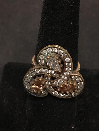 "Turkish ""Mygoldandsilver"" Amazing Gemstone Lined Sterling Silver Statement Ring Sz 8"