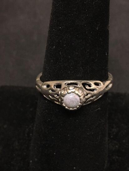 ESPO White Bead Gemstone Sterling Silver Vintage Ring Size 7.5