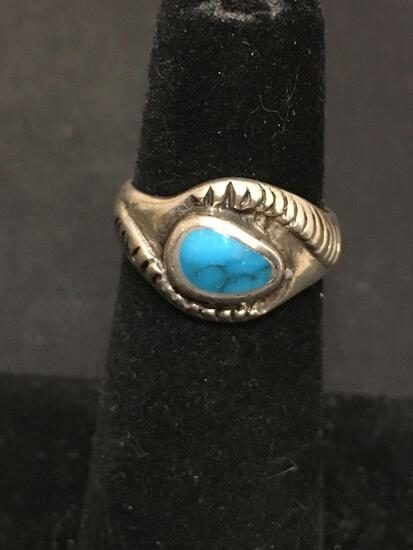 OLD PAWN Native American Snake Turquoise Sterling Silver Ring Size 4.5