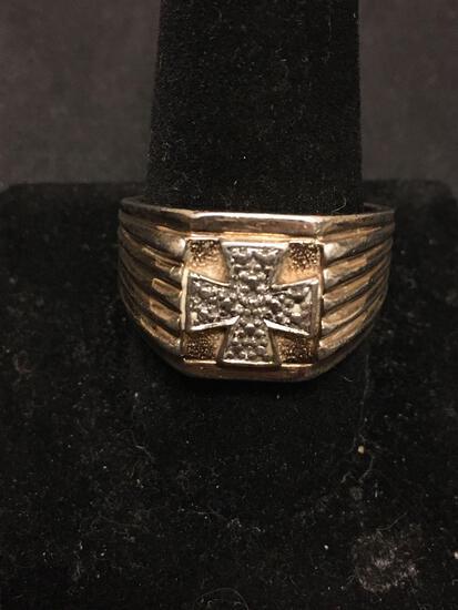 West Coast Chopper Diamond Emblem Sterling Silver Ring Size 12