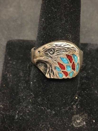 Native Style Incredible Inlaid Turquoise & Red Coral Sterling Silver Eagle Ring Sz 11.5