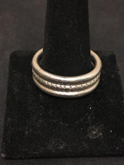 HEAVY Old Pawn Taxco Hand Carved Large Sterling Silver Ring Band Size 14
