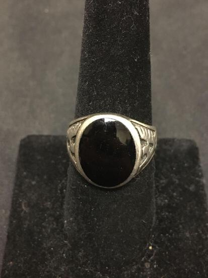 OLD PAWN NATIVE Sterling Silver THUNDERBIRD Black Onyx Ring Size 8