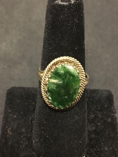 Vintage Green Marble Sterling Silver Cocktail Ring Size 7