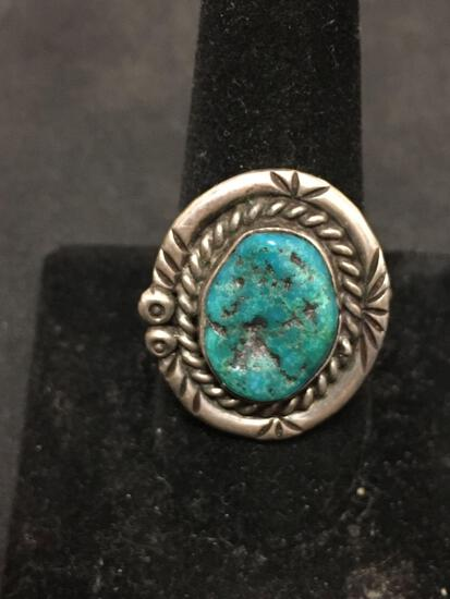 Native American Signed LF Sterling Silver & Turquoise Chunk Ring Size 10