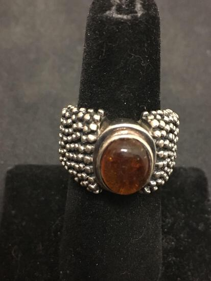 SILPADA Amber Colored Gemstone Beautifully Crafted Modernist Sterling Silver Ring Sz 6