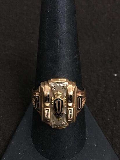 "MJ Designed 10K Yellow Gold 1956 Heavy ""D HS"" Class Ring GD Size 10 - 9 Grams"