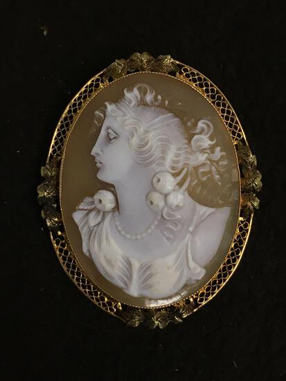 "WOW INCREDIBLE 14K Gold Solid Gold Cameo Large 2.75"" Brooch Pendant - 11.6 Grams"