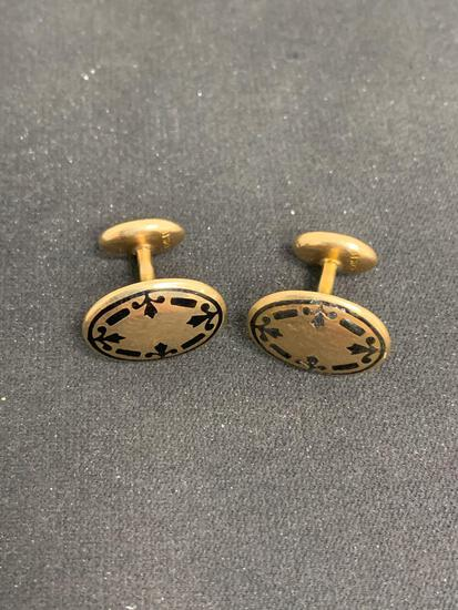Rare Antique 10K Yellow Gold & Black Enamel Solid Cuff Links - 4.15 Grams