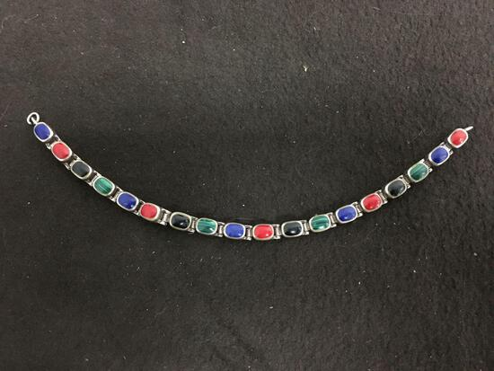 "Old Pawn Sterling Silver Multi Gemstone Inlaid 7.5"" Tennis Bracelet"