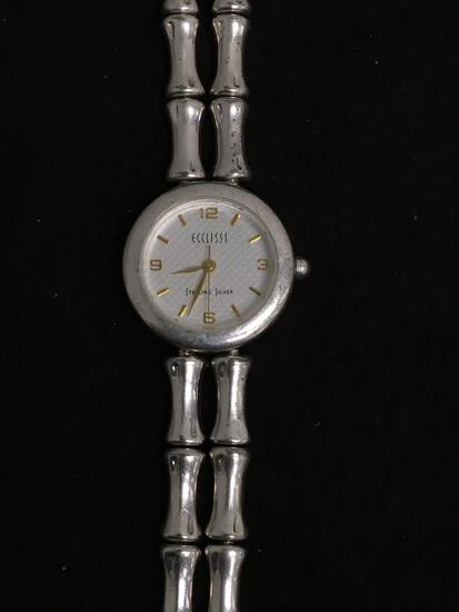 Heavy Ecclissi Sterling Silver Bamboo Style Watch - 56 Grams