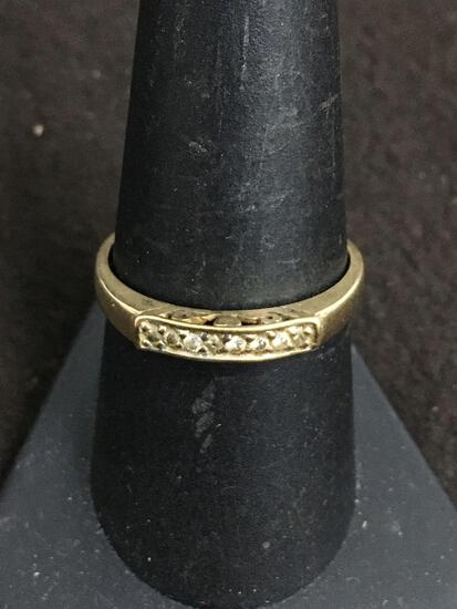 Vellmer Designer Diamond Lined 10K Yellow Gold Ring Size 9 - 1.7 Grams