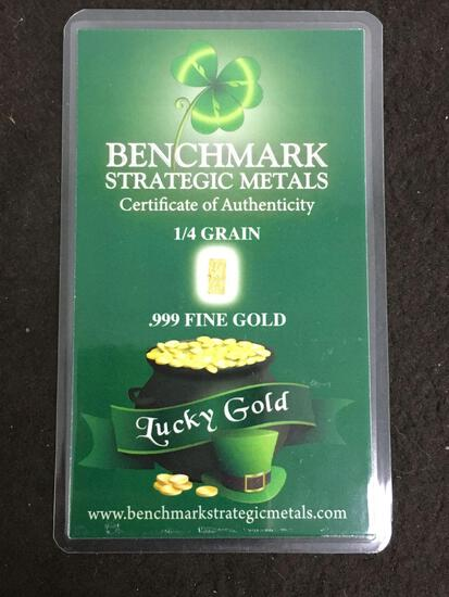 Benchmark Strategic Metals 1/4 Grain .999 Fine Gold W/ COA