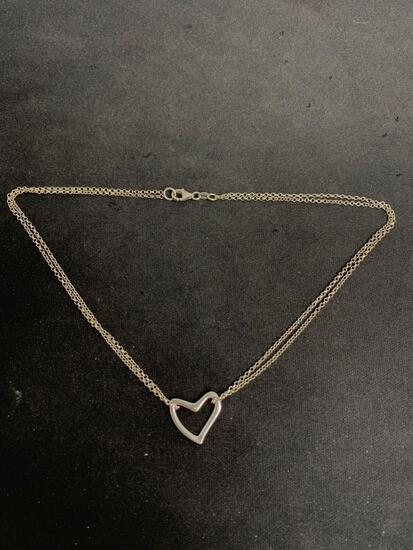 Classic 20x19mm Sterling Silver 20x19mm Ribbon Heart Pendant Double Strand Chain