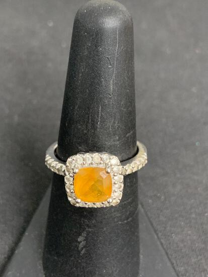 Cushion Faceted 7x7mm Citrine Center w/ CZ Halo & Shoulders Signed Designer Sterling Silver Ring