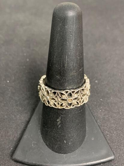 Diamond Accented Milgrain Floral Filigree Decorated 9mm Wide Eternity Sterling Silver Ring Band