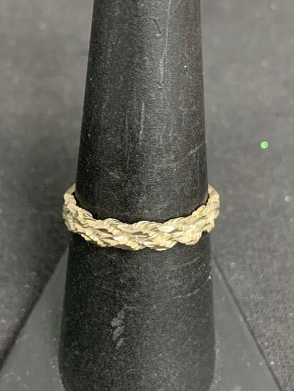 Hand carved Rope Motif 3.5mm Wide Signed Designer Old Pawn Sterling Silver Ring Band