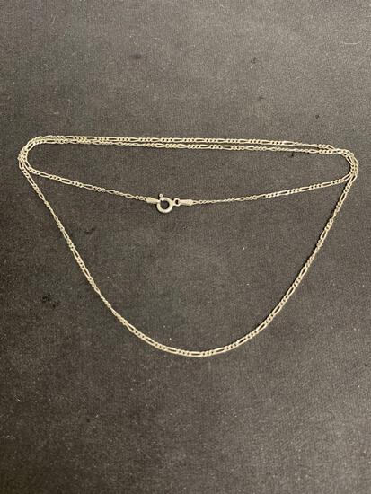 Figaro Link 1.25mm Wide 24in Long Italian Made Sterling Silver Chain
