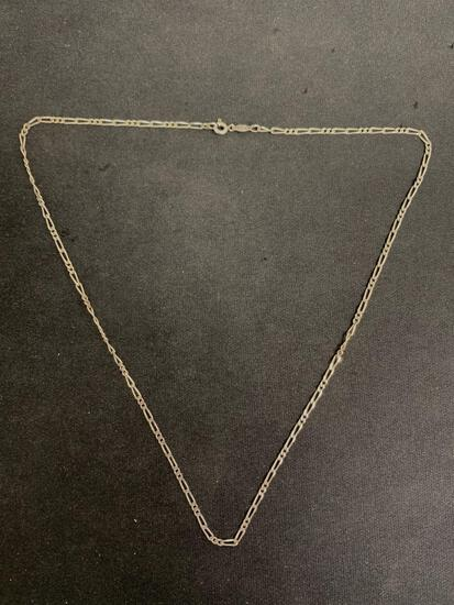 Figaro Link 2mm Wide 20in Long Italian Made High Polished Sterling Silver Chain