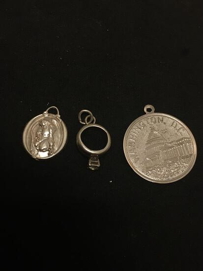Lot of 3 NICE Sterling Silver Charm Pendants