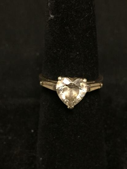 Heart Faceted 8x8mm CZ Center w/ Twin Tapered Baguette Sides Engagement Sterling Silver Ring Band
