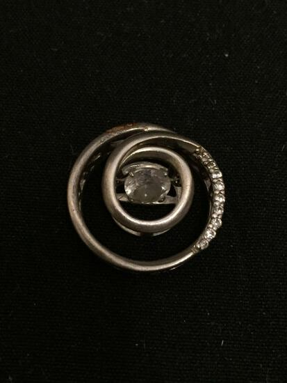 Round 17mm Swirl Design CZ Accented Signed Designer Sterling Silver Pendant w/ Dancing CZ Center