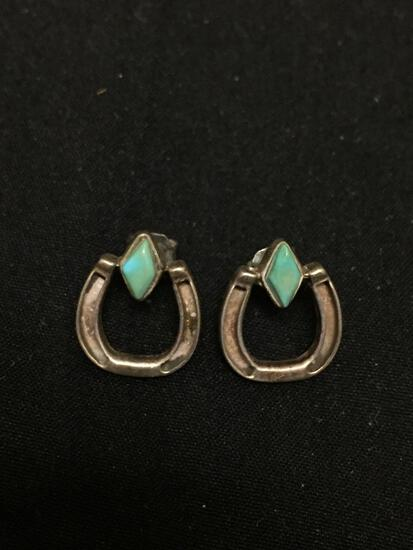 Lucky Horseshoe Design Pair of Sterling Silver Old Pawn Native American Earrings w/ Marquise