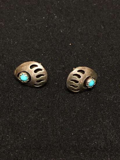 Bear Claw Design Pair of Sterling Silver Old Pawn Native American Earrings w/ Round Turquoise