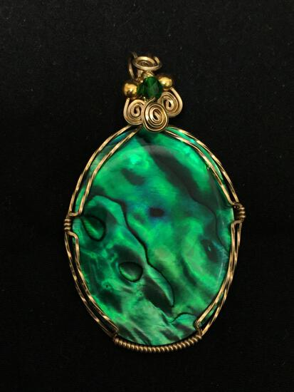 Bold Oval 55x35mm Handmade Wire-Wrapped Green Mother of Pearl Gold-Tone Sterling Silver Pendant