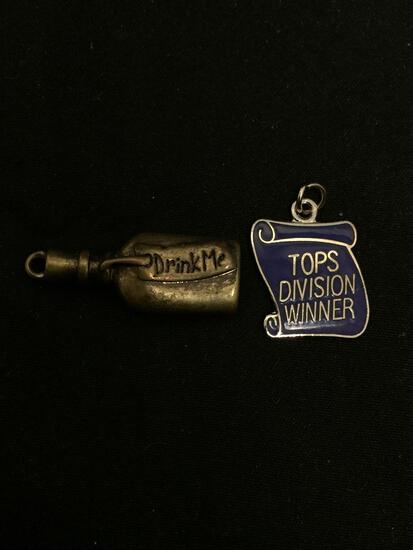 Lot of Two Alloy Charms, One Disney Alice in Wonderland & Tops Division Winner