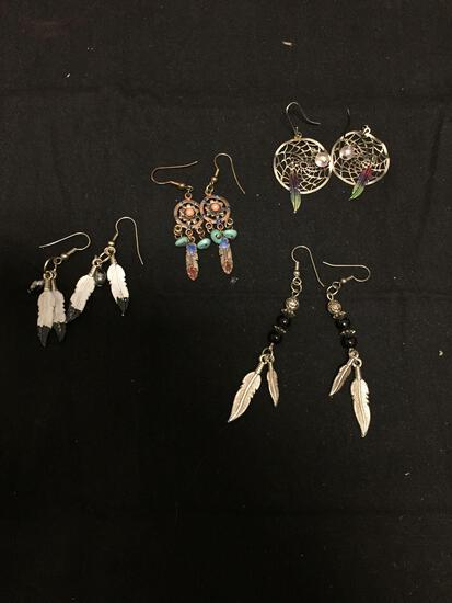 Lot of Four Old Pawn Native American Styled Pairs of Alloy Drop Earrings