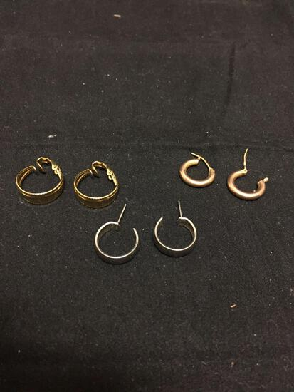 Lot of Three Various Size Gold & Silver Tone Pairs of Hoop Earrings