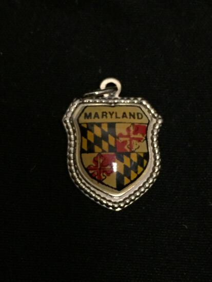 Detailed 15x14mm State of Maryland Sterling Silver Charm