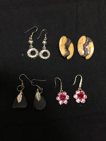 Lot of Four Various Size & Style Pairs of Alloy Fashion Drop Earrings