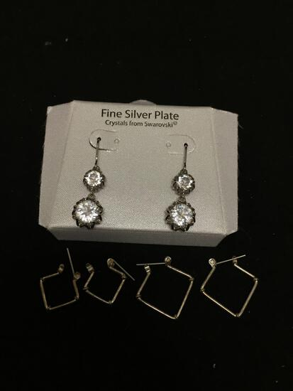 Lot of Three Various Size & Style Pairs of Alloy Fashion Drop Earrings