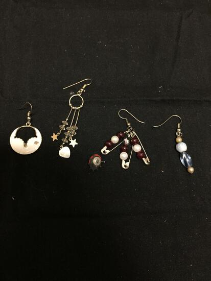 Lot of Four Various Size & Style Single Mismatched Earrings