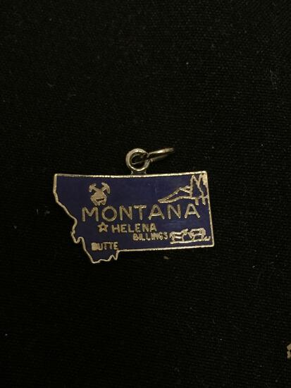 Detailed 19x10mm State of Montana Sterling Silver Charm